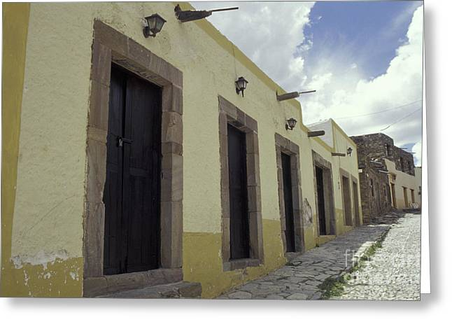 Eal Greeting Cards - Deserted Cobblestone Street Real de Catorce Mexico Greeting Card by John  Mitchell