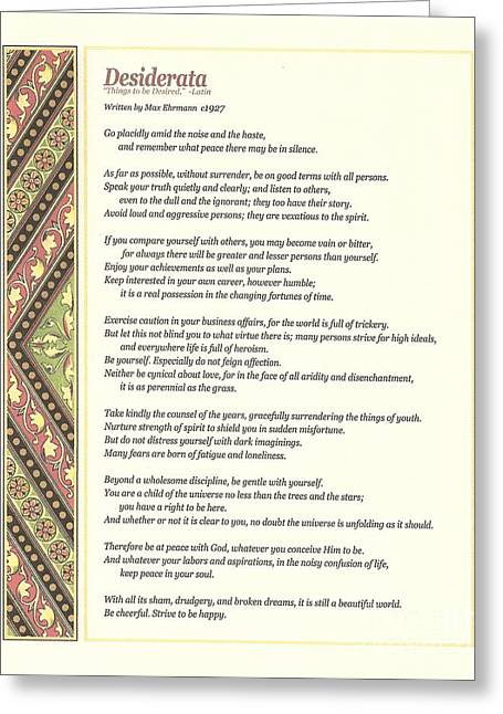 Wisdom Greeting Cards - Desiderata 1 Greeting Card by Claudette Armstrong