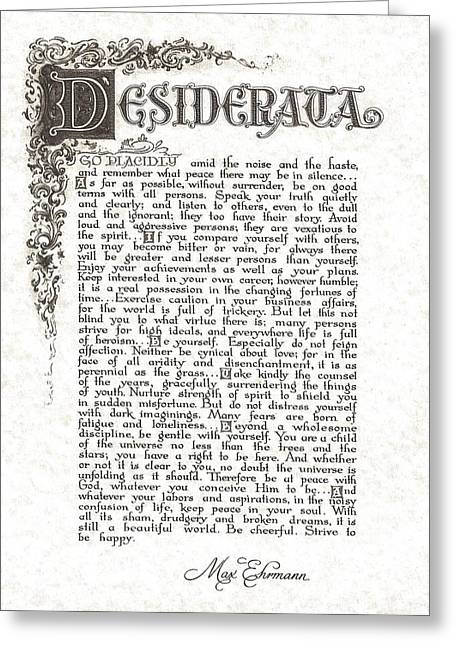 Motivational Poster Drawings Greeting Cards - Desiderata 6 Greeting Card by Claudette Armstrong