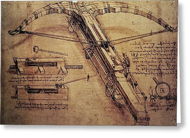 Pen And Ink Greeting Cards - Design for a Giant Crossbow Greeting Card by Leonardo Da Vinci