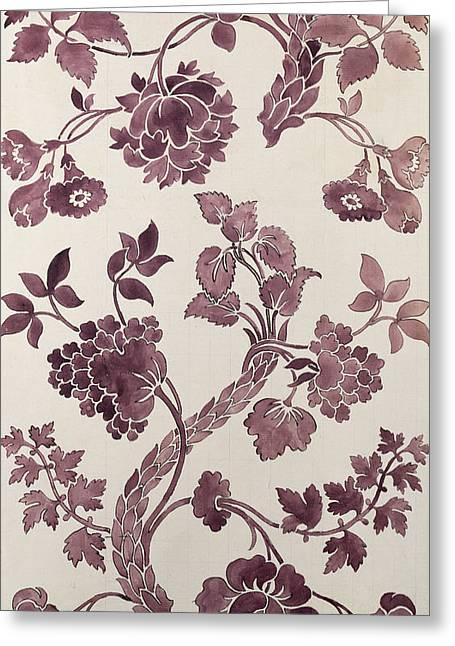Flower Tapestries - Textiles Greeting Cards - Design for a silk damask Greeting Card by Anna Maria Garthwaite