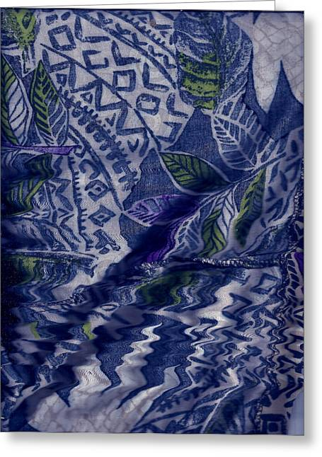 Designs With Blues Greeting Card by Anne-Elizabeth Whiteway