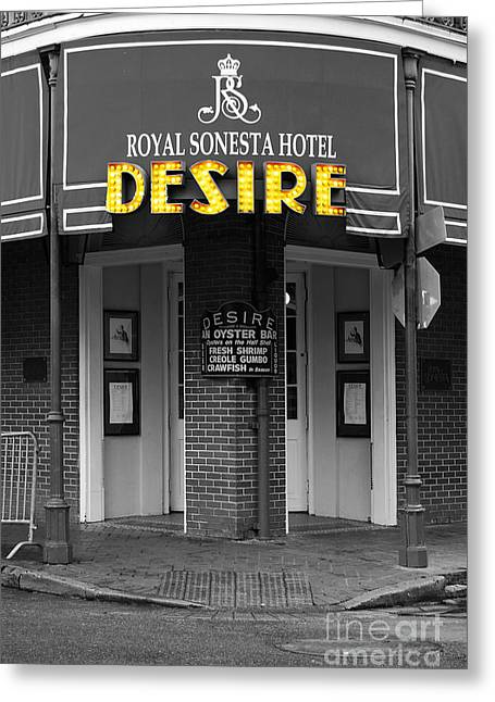 Recently Sold -  - Royal Art Greeting Cards - Desire Corner Bourbon Street French Quarter New Orleans Color Splash Black and White Digital Art  Greeting Card by Shawn O
