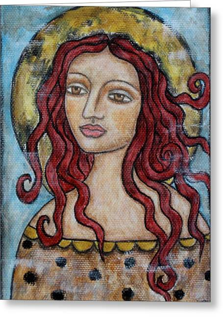 Religious Art Paintings Greeting Cards - Desiree Greeting Card by Rain Ririn