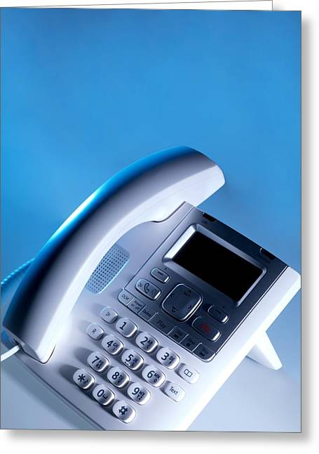 Handset Greeting Cards - Desk Telephone Greeting Card by Tek Image