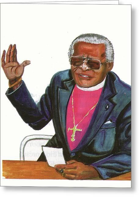 Desmond Tutu Greeting Card by Emmanuel Baliyanga