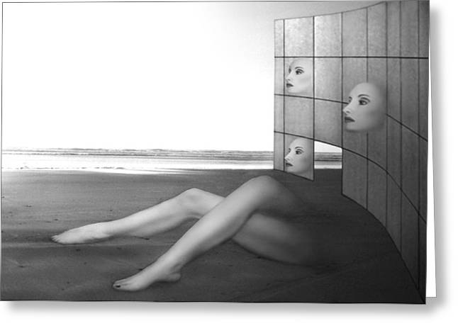 Ocean Art Photos Greeting Cards - Desolate - Self Portrait Greeting Card by Jaeda DeWalt