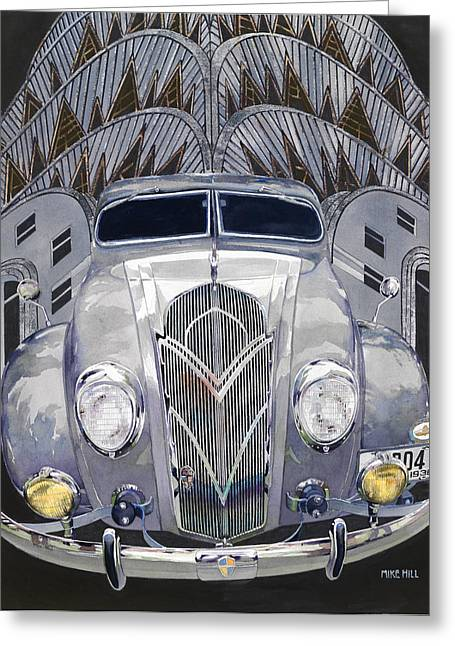 Mike Hill Greeting Cards - DeSoto and Deco Design Greeting Card by Mike Hill