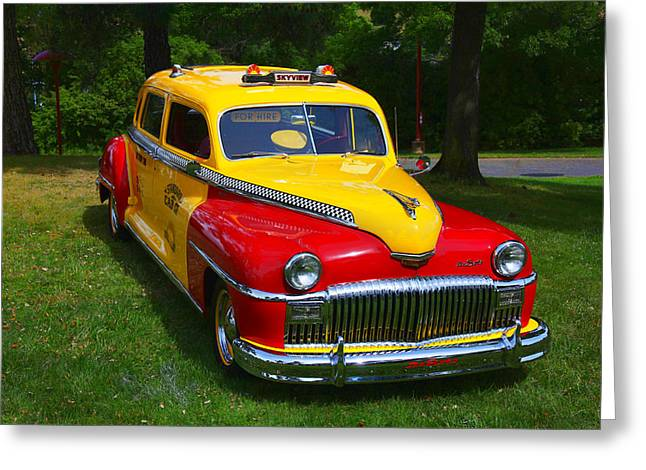Headlight Photographs Greeting Cards - DeSoto Skyview Taxi Greeting Card by Garry Gay