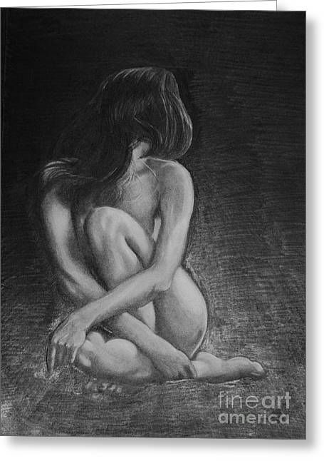 Native American Nude Woman Greeting Cards - Despair Greeting Card by Kerdy Mitcho