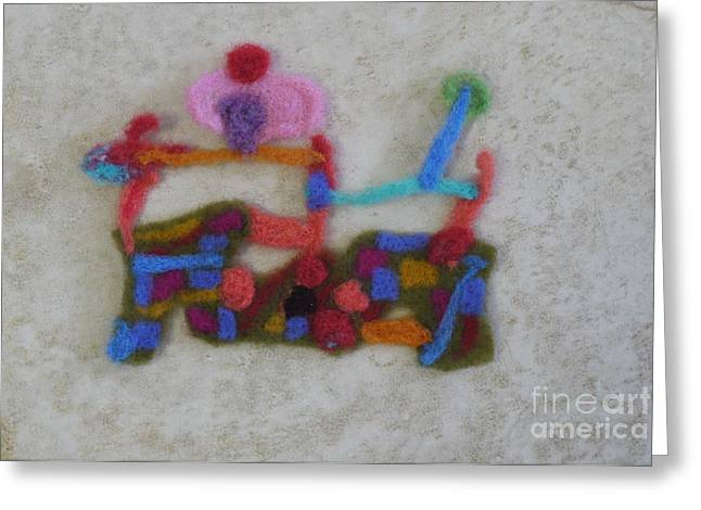 Wool Tapestries - Textiles Greeting Cards - Dessert in wool Greeting Card by Heather Hennick