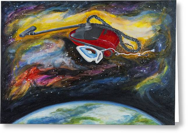 Outer Space Paintings Greeting Cards - Destiny Is My Co-Pilot Greeting Card by Vianne Korhorn