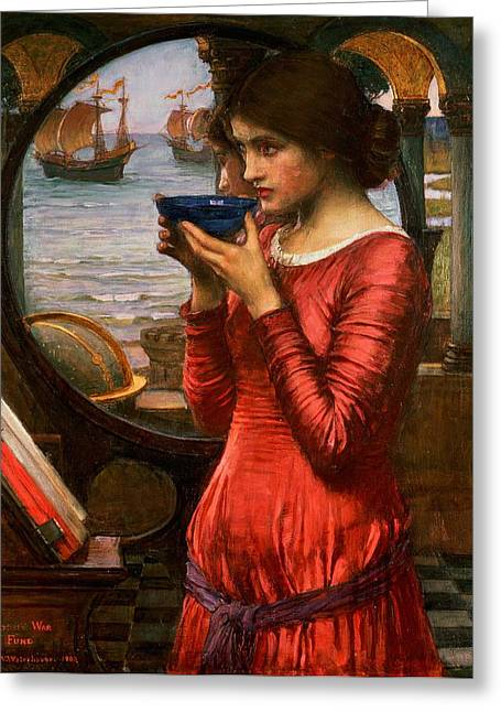 Glass.blue Greeting Cards - Destiny Greeting Card by John William Waterhouse