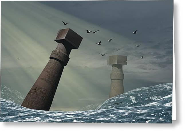 Atlantis Greeting Cards - Destruction Of Atlantis Greeting Card by Christian Darkin