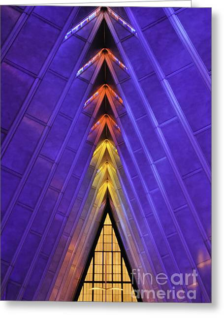 Greeting Cards - Detail AF Academy Cadet Chapel Greeting Card by David Waldrop