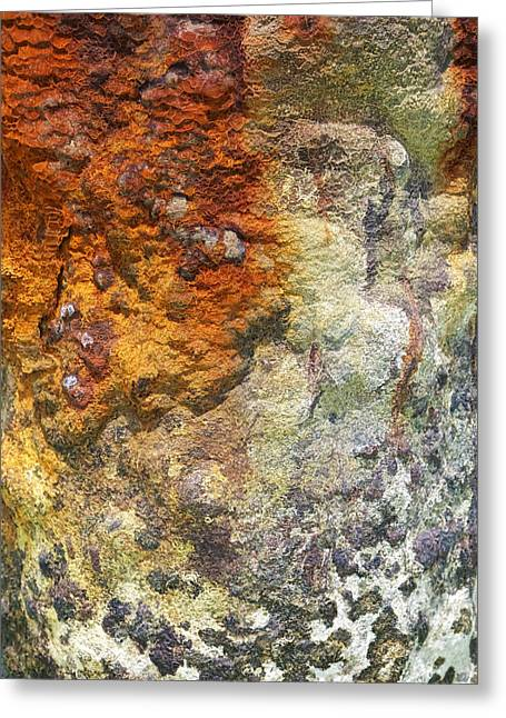 Reddish Flaking Iron Oxide Greeting Cards - Detail of a Rusted Dock Pier II Greeting Card by David Letts