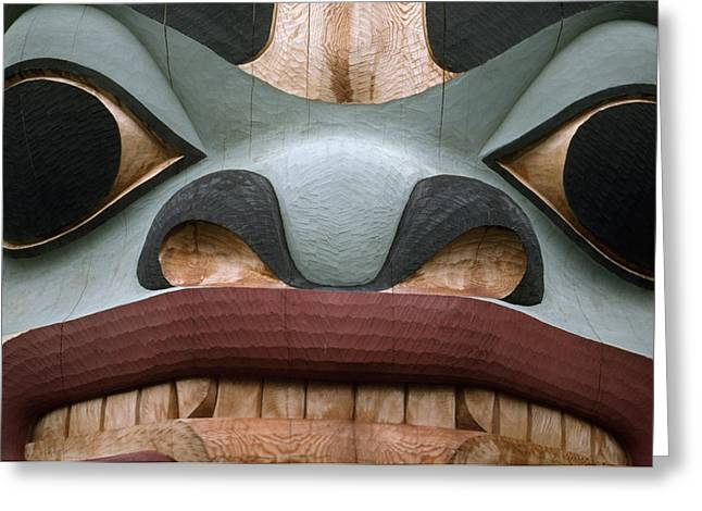 Devotional Art Photographs Greeting Cards - Detail Of A Totem Pole Greeting Card by Anne Keiser