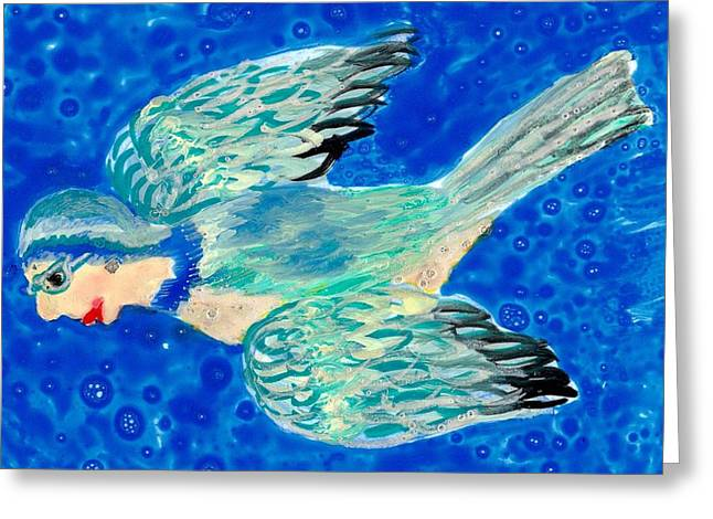 Magical Ceramics Greeting Cards - Detail of Bird People Flying bluetit or chickadee Greeting Card by Sushila Burgess