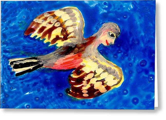 Magical Ceramics Greeting Cards - Detail of Bird People Flying Chaffinch  Greeting Card by Sushila Burgess