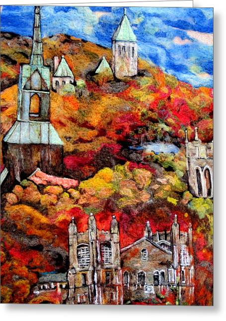Fall Tapestries - Textiles Greeting Cards - Detail of Fall Greeting Card by Kimberly Simon