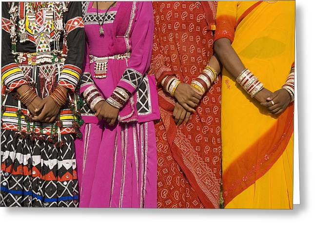 Young Adult Women Greeting Cards - Detail Of Hands Four Women In Saris Greeting Card by Axiom Photographic