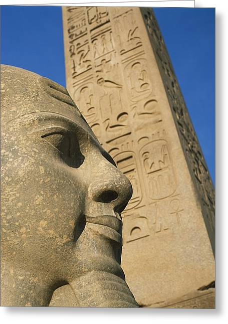 Pharaoh Greeting Cards - Detail Of Head Of Pharaoh In Front Of Greeting Card by Axiom Photographic