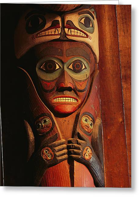 Devotional Art Photographs Greeting Cards - Detail Of House Post In The Totem Bight Greeting Card by Rich Reid