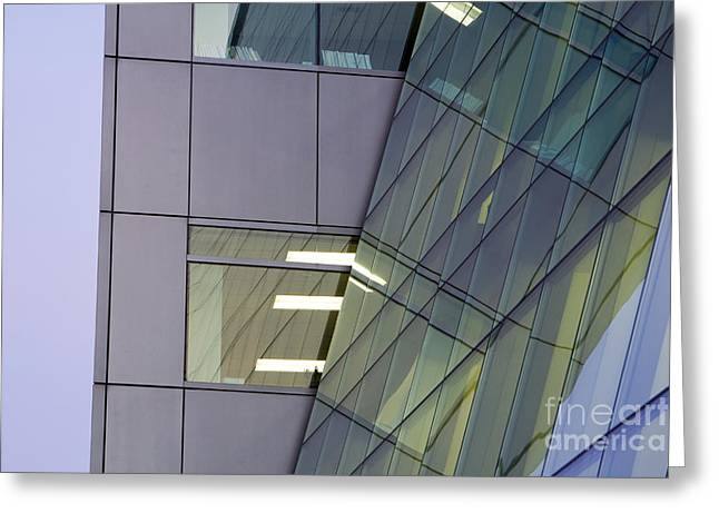 Glass Facade Greeting Cards - Detail of Modern Building Exterior Greeting Card by Paul Edmondson