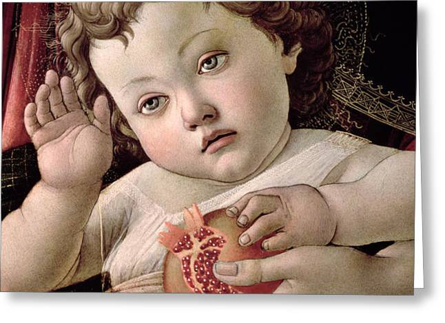 Detail of the Christ Child from the Madonna of the Pomegranate  Greeting Card by Sandro Botticelli