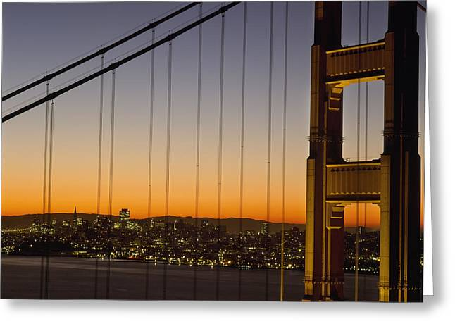 Detail Of The Golden Gate Bridge At Greeting Card by Axiom Photographic