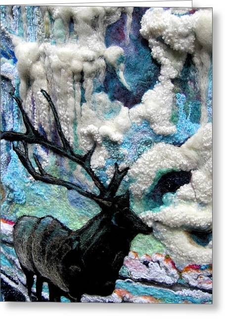 Light Blue Tapestries - Textiles Greeting Cards - Detail of Winter Greeting Card by Kimberly Simon