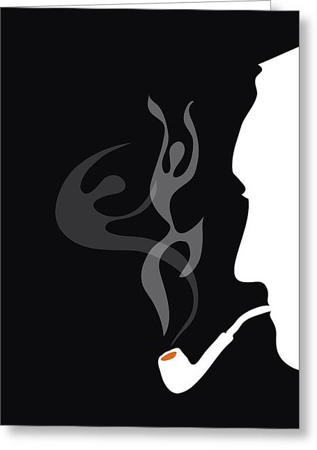 Pensive Greeting Cards - Detective smoking pipe Greeting Card by Sofia Wrangsjo