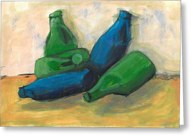 Bottled Pastels Greeting Cards - Detergent Bottles Greeting Card by Rae Hauck
