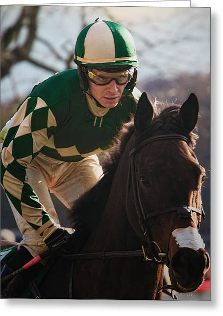 Steeplechase Race Greeting Cards - Determination Greeting Card by Daniel Sands