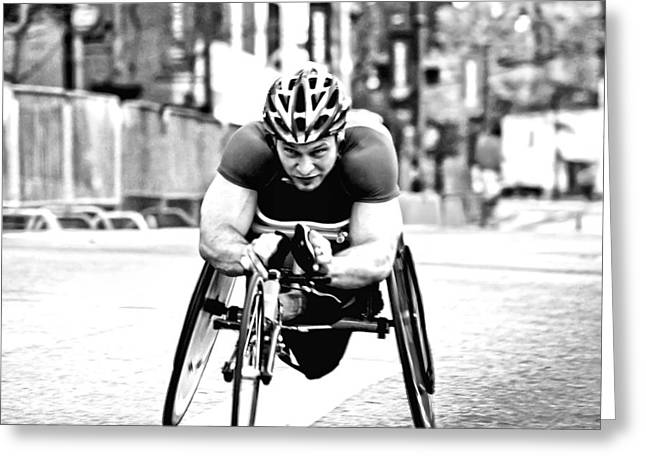 Wheelchair Greeting Cards - Determination Greeting Card by Kenneth Mucke