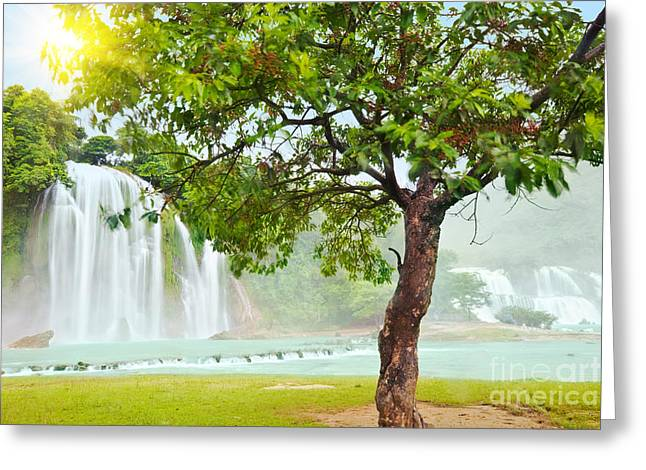 Detian Greeting Cards - Detian and Ban Gioc waterfall Greeting Card by MotHaiBaPhoto Prints