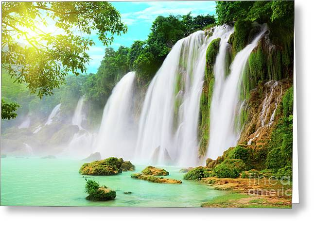 Green Foliage Greeting Cards - Detian waterfall Greeting Card by MotHaiBaPhoto Prints