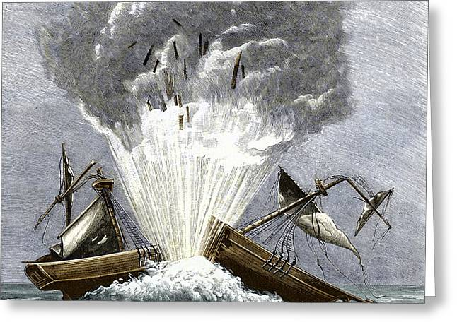 Historical Pictures Greeting Cards - Detonation Of The First Torpedo, 1805 Greeting Card by Sheila Terry