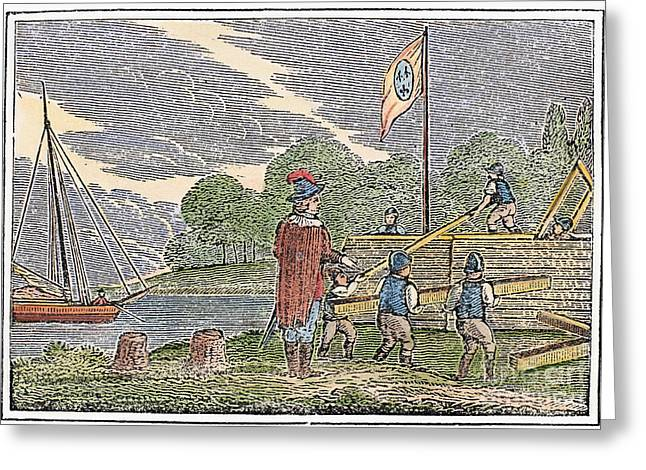 1680 Greeting Cards - DETROIT: EARLY FORT, c1680 Greeting Card by Granger