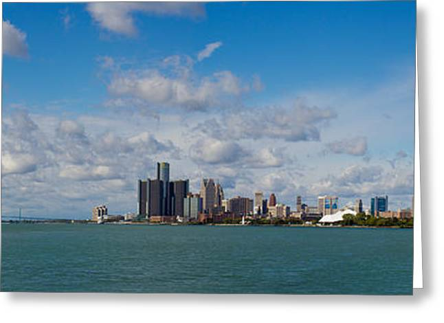 Ren Cen Greeting Cards - Detroit Michigan Skyline Greeting Card by Twenty Two North Photography