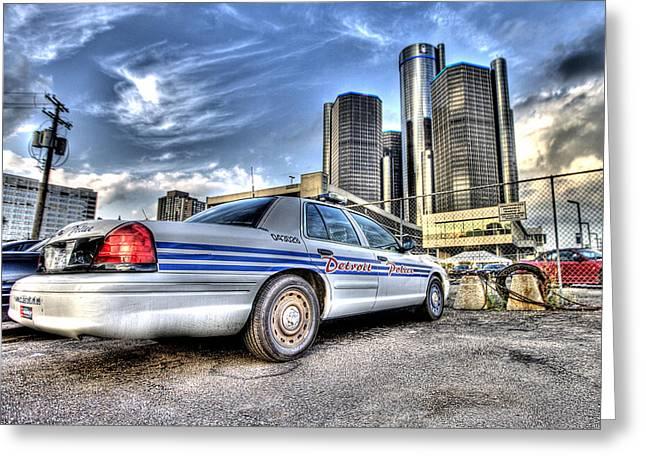 Renaissance Center Greeting Cards - Detroit Police Greeting Card by Nicholas  Grunas