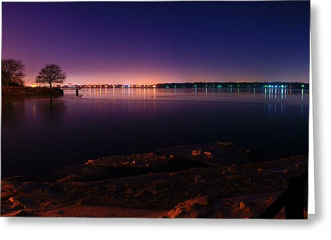 Detroit River Greeting Cards - Detroit River Panorama Greeting Card by Cale Best
