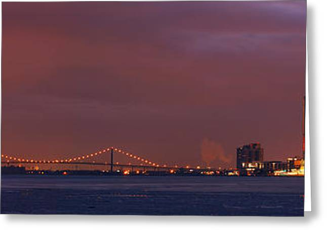 Renaissance Center Greeting Cards - Detroit Skyline 2 Greeting Card by Michael Peychich