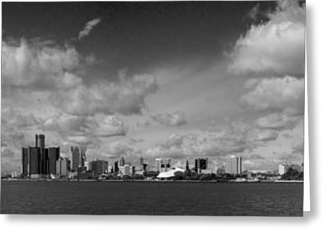 Ren Cen Greeting Cards - Detroit Skyline in Black and White Greeting Card by Twenty Two North Photography