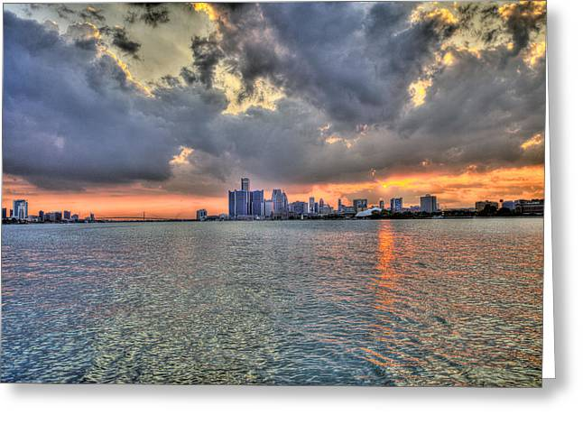 Detroit Sunset  Greeting Card by Nicholas  Grunas