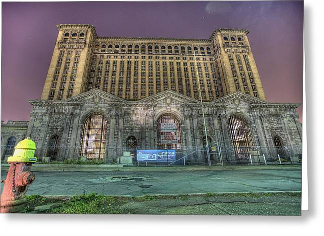 Abandoned Train Greeting Cards - Detroits Michigan Central Station - Michigan Central Depot Greeting Card by Nicholas  Grunas