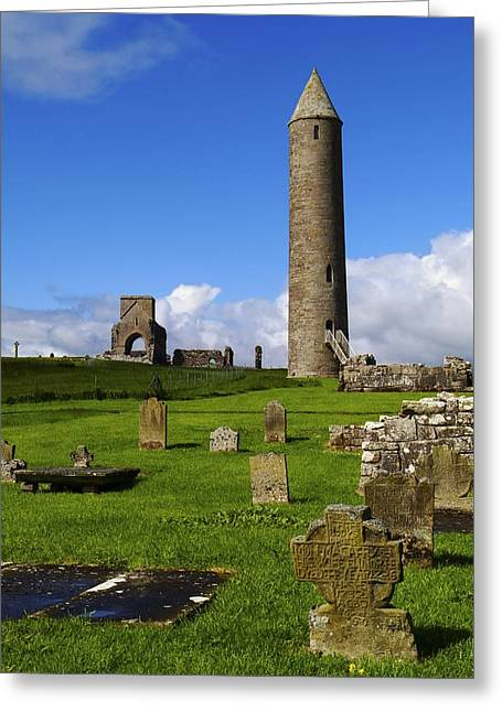Devenish Monastic Site, Co. Fermanagh Greeting Card by The Irish Image Collection