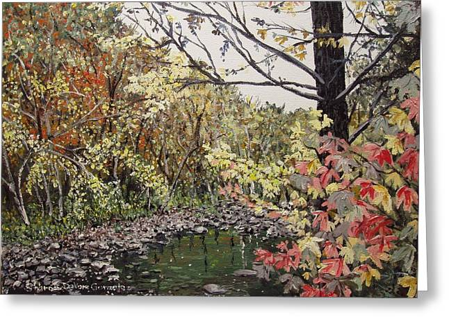 Arkansas Paintings Greeting Cards - Devils Den in Fall Greeting Card by Sharon  De Vore