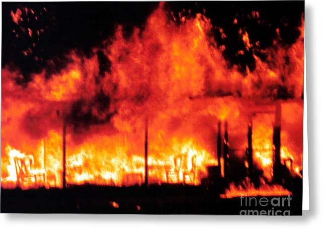 Burning Building Greeting Cards - Devils Diner - Digital Art Greeting Card by Al Powell Photography USA