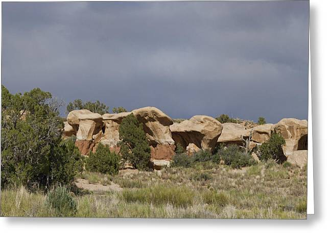 Holes In Sandstone Greeting Cards - Devils Garden Hoodoos Panorama 2 of 4 Greeting Card by Gregory Scott